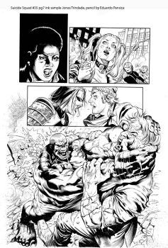 Suicide Squad 35 pg 7 ink sample by JonasTrindade