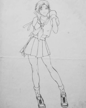 Old drawing Sakura lineart 2006  by Carlos-minervino