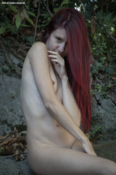 RedClo nude near a ruined fountain 05 by Darthsandr