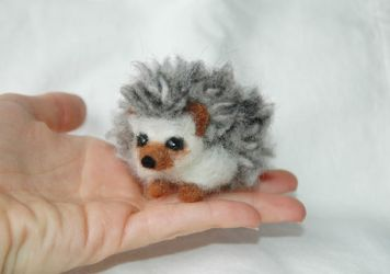 Needle Felted mini Hedgehog by amber-rose-creations