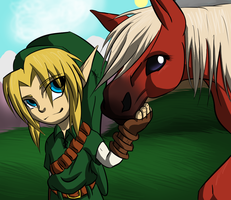 Chibi Link and Epona by tyler-gf123