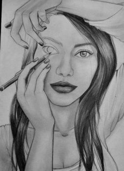 A girl Attracting a image of a girl's face drawing by lucianoruocco