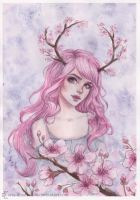 Cherry blossom antlers by ARiA-Illustration