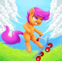 Scootaloo on her scooter by verrmont