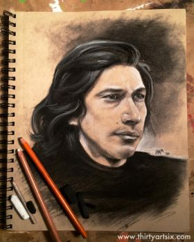 Kylo Ren Charcoal Study by hever