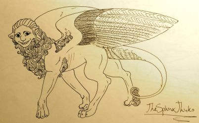 sphinx line drawing by TheSphinxThinks