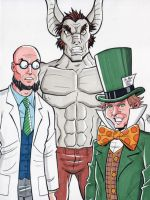 Hugo Strange, Man-Bat and Mad Hatter by calslayton