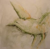 Crow in green washed pastel by Mutany