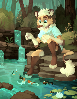 Pond fish feeding - Animated by Flemaly