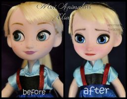 repainted ooak mini animators elsa doll. by verirrtesIrrlicht