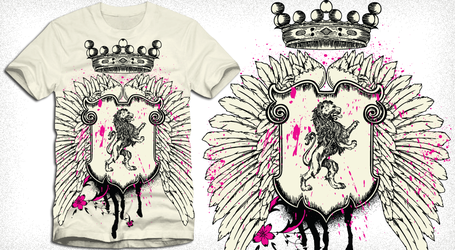 Winged Shield with Crown Vector Tee Design by stockt-shirtdesigns
