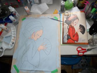 Asian Lady Painting: WIP #1 by kayanah