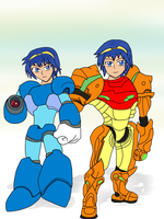 Marth as Megaman X and Varia Suit Samus by KMTH