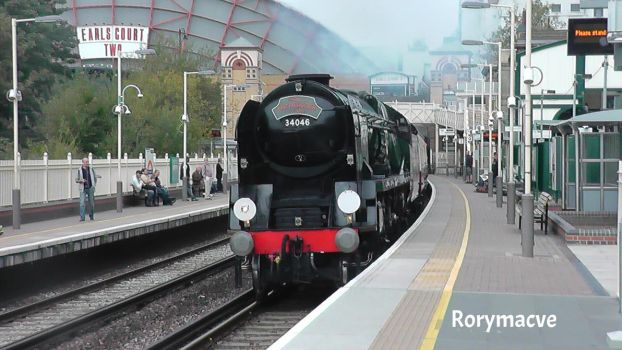 Southern Railway 34046 'Braunton' at West Brompton by The-Transport-Guild