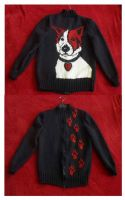 Knitting Jacket with my Dog Lumos by Vulkanette