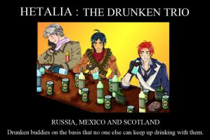 Hetalia  Drunken trio  poster by chaos-dark-lord