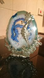 Seahorse Geode sun catcher sculpture by braindeadmystuff