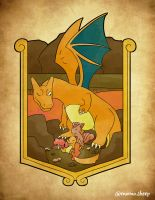 Charizard, charmander, magby and vulpix - pokemon by themomosheep
