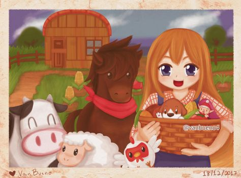 Fanart - Harvest Moon 20th Anniversary by vanbueno