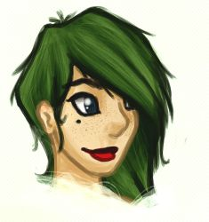 Her funky green hair by Schoes