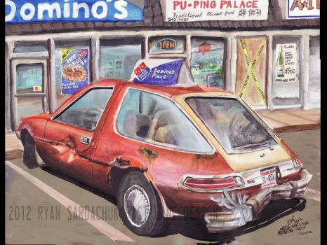 1978 AMC Pacer Pizza Delivery Car (painting) by FastLaneIllustration