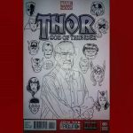 Stan Lee with the John Byrne style Marvel Heads by StevenWilcox