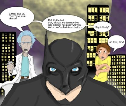 Rick and Morty in Gotham by DanMizelle
