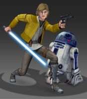 Animated Style Luke and R2 (Star Wars Fan Art) by Brian-Snook
