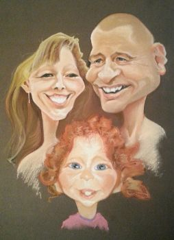 Commission family caricature by byztro
