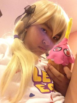 FNAF- Chica the Chicken cosplay WIP- Cupcake plush by fourgirls919