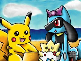 Pikachu, Togepi and Riolu together on a beach by 29steph5