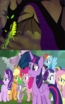 SG Spi Mane 6 Scared of Dragon Maleficent by jacobyel