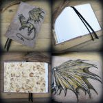Here be dragons - leather hardcover journal by Dark-Lioncourt