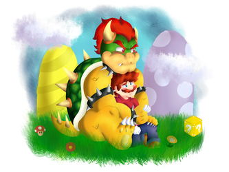 Bowser and Mario by Ninten6412XD