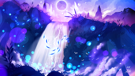 Purple Waterfall by ryky