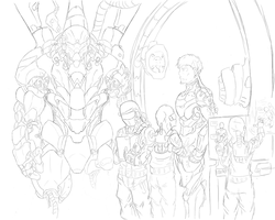 WASP Corp. Armoring Up Lineart by 123GOHANZ