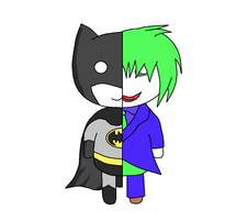 Chibi Batman and Joker Conjoined Digital by CloudySkyCupcake