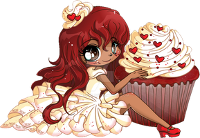 Red Velvet Chibi Cupcake Commission by YamPuff