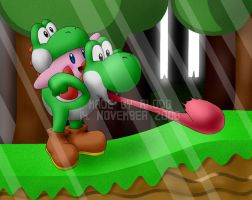 Yoshi and Kirby by Alodo