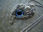 Heart Lock Key  - Dragon Wolf Eye Pendant Necklace by LadyPirotessa