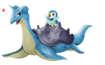 Lapras and Piplup by KasumyChan