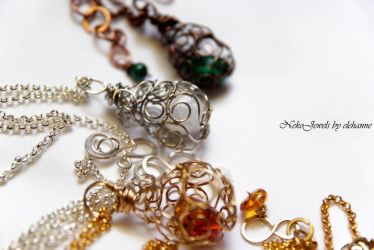 Gold Green and White Crystal Dragons Eggs by Elehanne