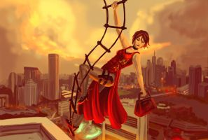 Ada Wong -Escape by Rooftop by SpookyCritter72