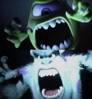 Mike and Sulley Frighting Screams by dlee1293847