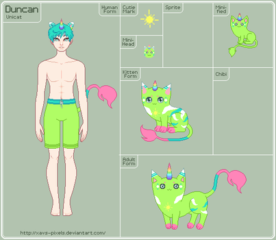 Unicat - Duncan Reference Sheet - WIP by xavs-pixels