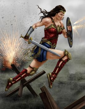 wonder woman battle by dragynsart