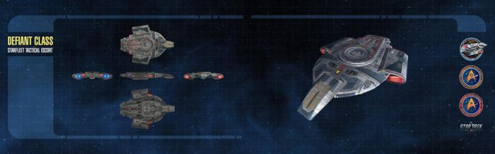 Defiant Class Starship Dual-Monitor Wallpaper by thomasthecat