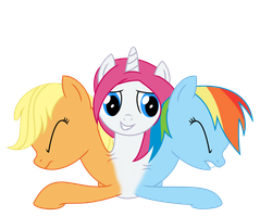 (Trade) Vocal x Rainbow x Applejack Conjoined by MLPConjoinment