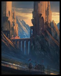 Knights and Mountain Fortress by Raphael-Lacoste