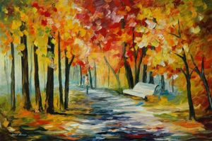 Sunny Bench by Leonid Afremov by Leonidafremov